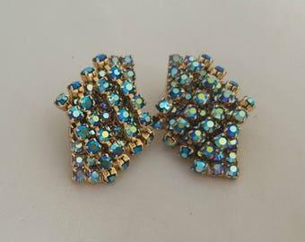 Hattie Carnegie Blue AB Earrings