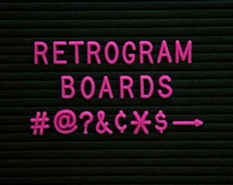 """HOT Pink Retrogram Board 3/4"""" Letters-   150 numbers, #, ?, @ symbols and other punctuation for tons of sayings for Retrogram Letter Boards"""