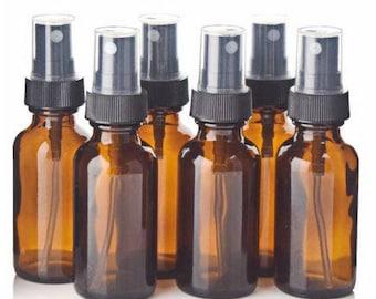 6 Pcs 30 mL Amber Glass Spray Bottles