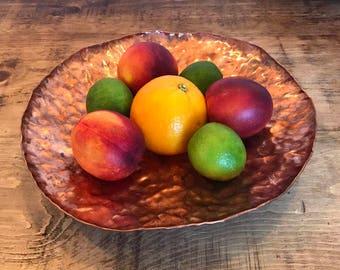 Solid Copper Fruit Bowl