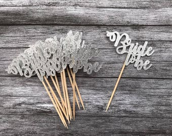 Bride To Be Cupcake Topper Silver or Gold - Bachelorette Party, Bride To Be, Hen Party, Engagement Party, Engagement Cupcake Topper x 12