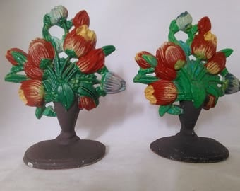 1990 - Lillian Vernon - Cast Iron - Country Tulip Bouquet Bookends or Doorstops