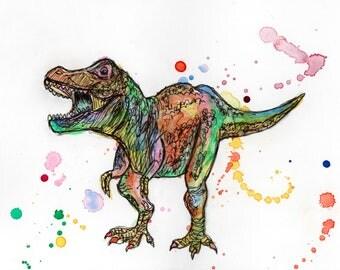 Tyrannosaurus Rex Watercolour and Ink Artwork Print