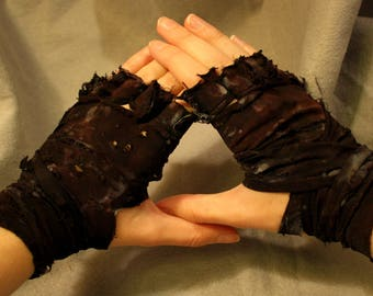 Mad Max Inspired Post-Apocalyptic Pair of Ragged Fingerless Wrap Gloves