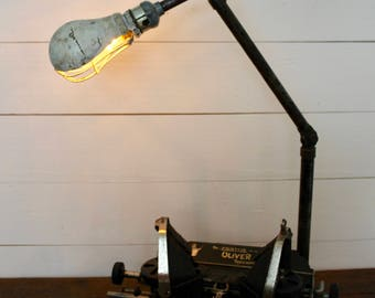 Vintage Industrial Articulating Desk Lamp, Industrial Task Light, Vintage Adjustable Shop Light, Industrial Light