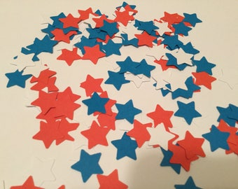 Patriotic red white and blue star confetti ( 5/8 in )