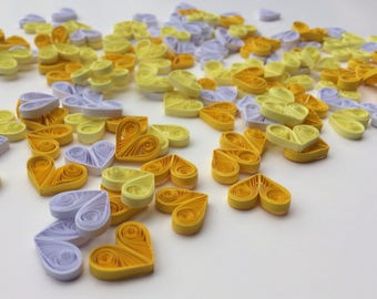 Quilled Hearts Paper Quilling Art Confetti Scatter Ornaments Gifts Fillers Valentines Mothers Day Baby Bridal Shower Wedding Yellow White