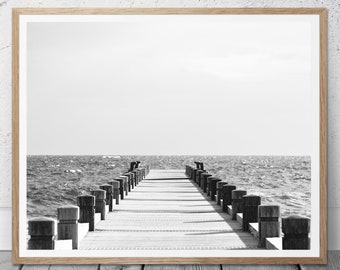 Ocean Water Pier, Jetty  Print, Jetty Photography, Jetty Photography,  Coastal Style, Beach Art Print, Black and White, Ocean Art, 112v