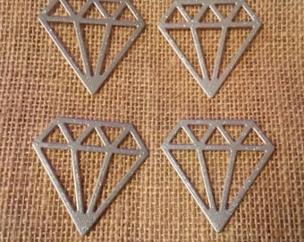 Silver Glitter Diamonds/Gems x4 Card Shapes for Wedding Card Making, Scrapbooking and Crafts