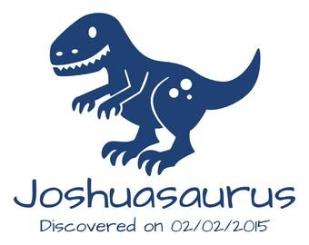 Personalized Name with Birthday & T-Rex Dinosaur Vinyl Wall Decal