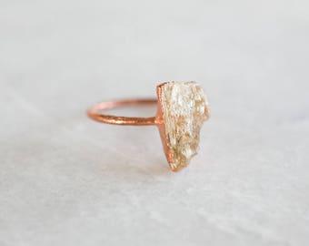 Raw Topaz Ring | Topaz Ring | Raw Topaz Crystal Ring | Rough Topaz Ring | Unique Gem Rings | Raw Crystal Ring | Stacking Ring | Boho Rings