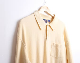 Vintage Yellow Pendleton Ribbed Polo Shirt Size XL 100% Cotton