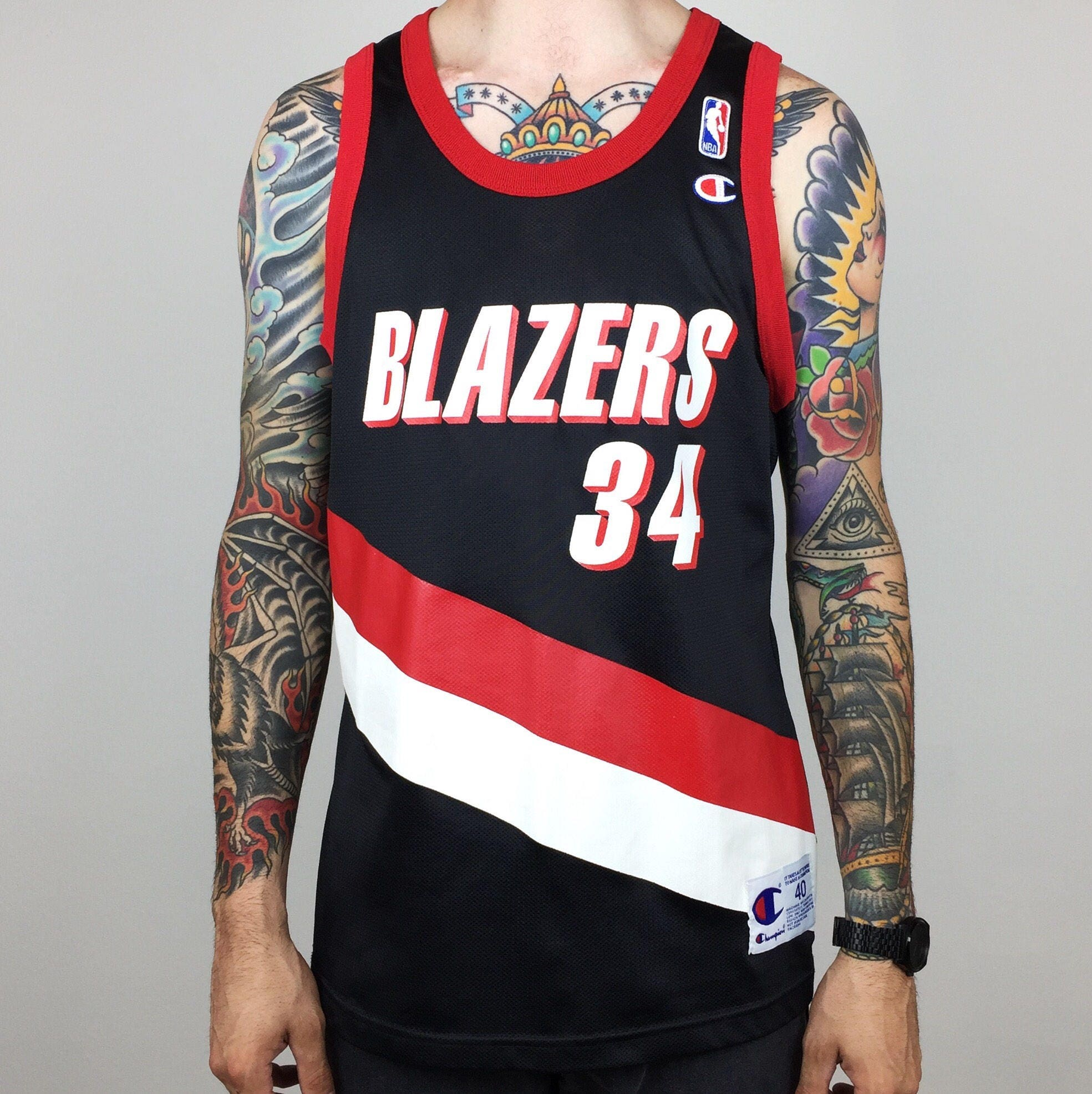 Asian Wearing Portland Blazer Jersey: RARE Mint Vintage 90s Champion NBA Portland Trail Blazers