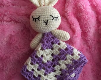 Crochet lovey, crochet security blanket, crochet snuggler, crochet bunny, baby gift