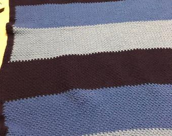 Blue ombre toddler blanket