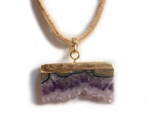 Gold Plated Amethyst and Smoke Deer Skin Leather Necklace with Copper Clasp