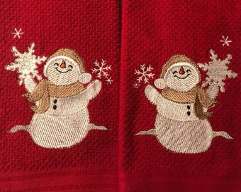 Embroidered Snowman Kitchen Towels. Set of 2.