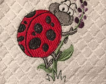 Embroidered Ladybugs Kitchen Towels. Set of 2.