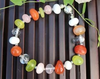 Multi Gemstone Yoga Mala Beaded Bracelet. Healing Natural Gemstone Bracelet. Wrist Mala. Lucky Bracelet.