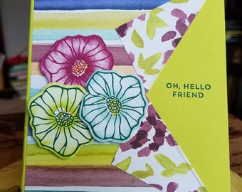 Colorful Flowers Missing You Friendship Card