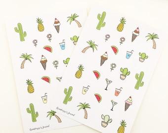 Assorted doodle stickers - bullet journal stickers, planner stickers, organiser stickers, sticker sheet, cactus, summer