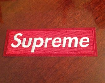 "4.5"" Supreme iron on red embroidered patch Free usa shipping!"