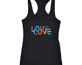 Women's Pride Love Is Love Colorful Racerback Tank Top, Black, White And Grey, LGBTQ, Equality, Gay Pride, Gay Rights, Resistance, Resist
