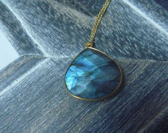Blue labradorite drop necklace