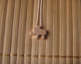 pink elephant gold necklace