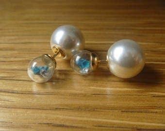 pearls and real dried flowers earrings blue earrings