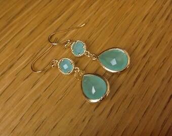 Golden Earrings: Blue Green Crystal