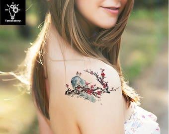 Watercolor Temporary Tattoo Watercolor Tattoo Cherry Blossom Tattoo Japanese Temporary Tattoo Sakura Tattoo Tree Tattoo Thigh Tattoo