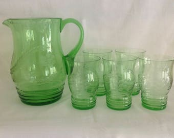 Vintage Green Glass Pitcher & 5 Glasses with Edged Flowers