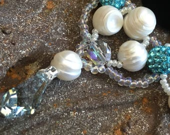 Vintage Glamour Style, Statement Necklace, Swarovski Pearl Crystal Necklace, Real Pearl, Turquoise Blue, Prom Jewelry,Bride Something Blue