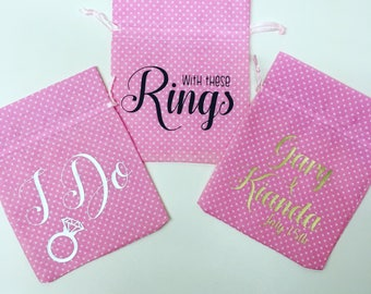 Personalised Wedding Rings Pouch, Bride & Groom gifts