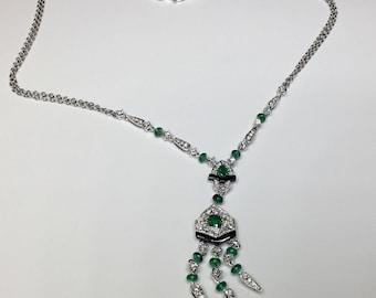 Estate 18K White Gold 2.69 CTW Diamond And Emerald Necklace 9.33 Grams