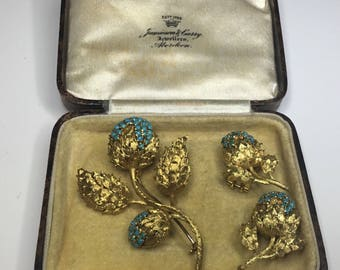 Estate Vintage Antique Italy 18K Yellow Gold Turquoise Flower Brooch Earring Set