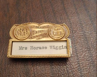 Vintage Whitehead and Hoag NamePlate Pin, National Hotel Exposition, New York State Hotel Association, Hotel Association New York City