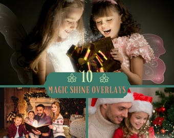 10 Magic Shine Book Overlays, Christmas Overlays, Photoshop Overlays, Magic Christmas Present PNG, Shine Sparkles , Digital backdrop