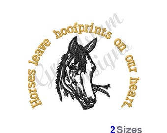 Hoofprints On Our Hearts - Machine Embroidery Design
