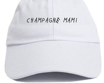 Champagne Mami Dad Hat Adjustable Baseball Cap New - White