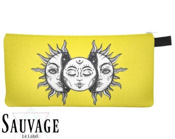 Yellow Sun and moon • Pencils - Makeup - Phone whatever you want little bag • handmade in montreal
