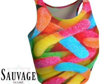 GummyWorms • Athletic crop top • Festivals and yoga classes approved • handmade in Montreal - XS to XL
