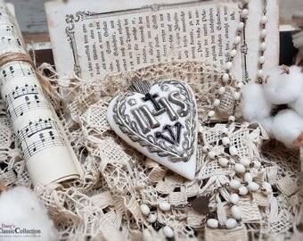 "German wax heart with golden inscription ""IHS ~ german folk art ~ sacral wax art ~ religious decoration ~ hw3963si"