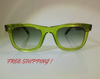 Sunglasses Wayfarer Style Green Frame Tortoise Brown Arms Handmade In Italy By Kador spa