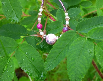 Pink Beaded Necklace with Cream and White  Ceramic Bead.