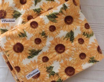 Sunflower flannel pillowcase, soft, cozy, made in VT