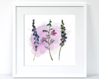 Purple branches floral framed print