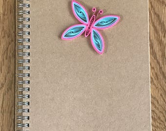 Butterfly Notebook, Butterfly Journal, Butterfly Stationary Gift, Hand Decorated Notebook, Quilled Notebook, A5 Notebook, Notebook