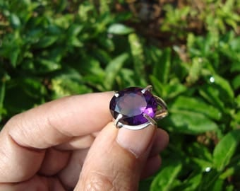 amethyst ring solitaire ring